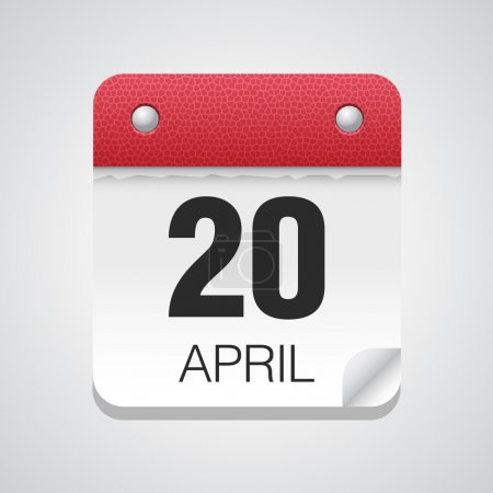Illustration for White simple calendar icon with April 20 day - Royalty Free Image
