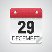 White simple calendar icon with December 29 day