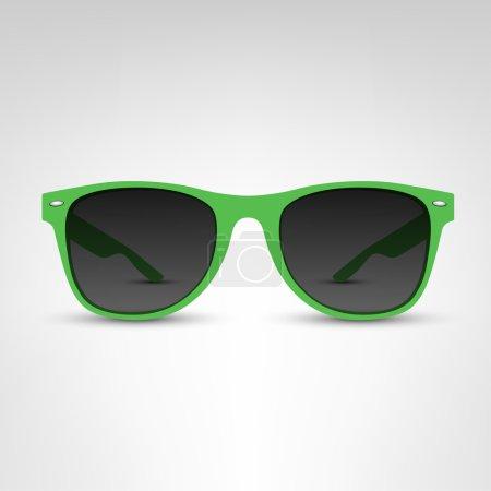 green sunglasses on white