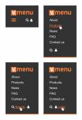 Vertical menu for website The simplest but powerful vertical menu template for websites With logotype menu icon link search and login buttons