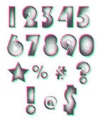 Halftone design numbers Editable colors