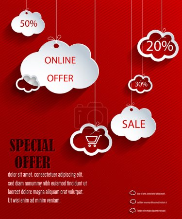 Vector clouds shopping web design with discounts...