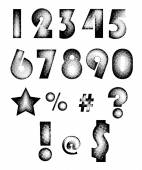 Halftone textured numbers