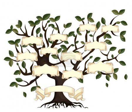 Illustration of family tree with vintage ribbons