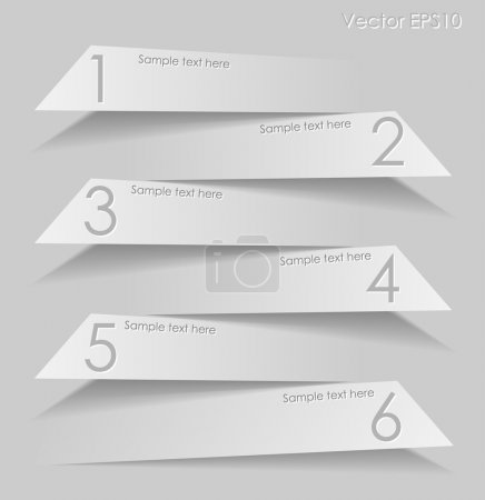 Gray paper labels with shadows