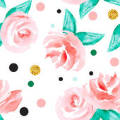 Seamless background with  roses and polka dots