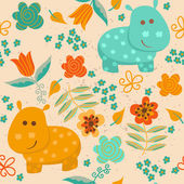 Seamless pattern with  hippo and flowers