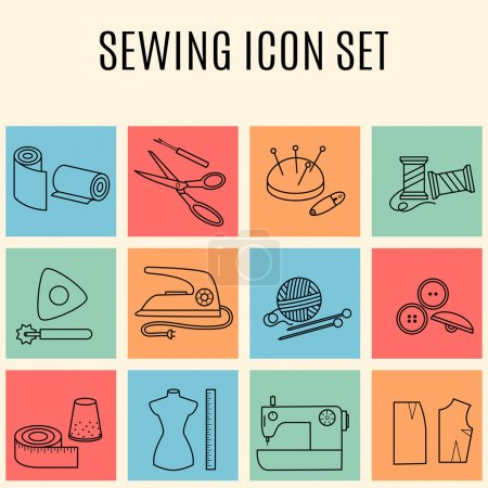 Illustration for Set of sewing and needlework line icons. Collection of design elements. Vector illustration. - Royalty Free Image