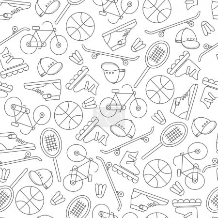 Seamless pattern with  sports equipment.