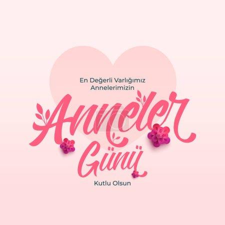Illustration pour Anneler Gunu Kutlu Olsun. Traduction : Bonne fête des mères. - image libre de droit