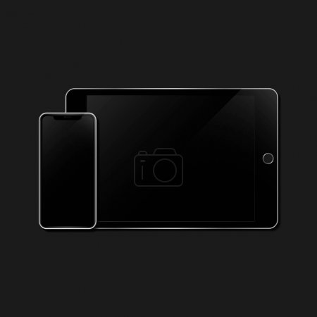 Photo for Digital tablet and a mobile phone mockup - Royalty Free Image