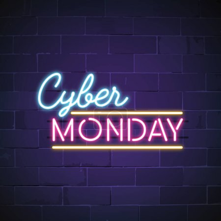 Photo for Cyber Monday neon sign vector - Royalty Free Image