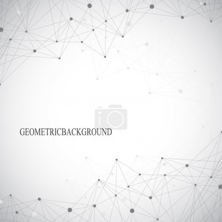 Illustration for Geometric abstract grey background with connected lines and dots. Medicine, science, technology backdrop for your design. Vector illustration. - Royalty Free Image