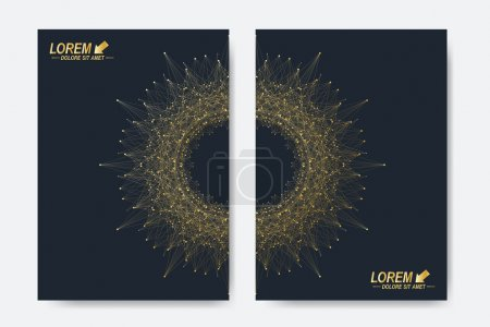 Illustration for Modern vector template for brochure, Leaflet, flyer, cover, magazine or annual report. A4 size. Business, science, medicine and technology design book layout. Abstract presentation with round molecule - Royalty Free Image