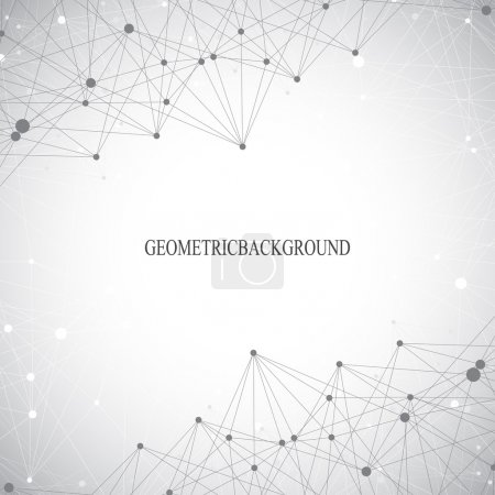 Geometric grey background molecule and communication . Connected lines with dots. Vector illustration