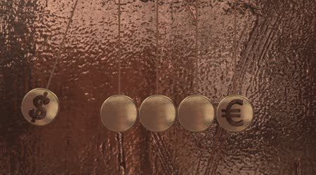 Newtons Cradle with currency sign