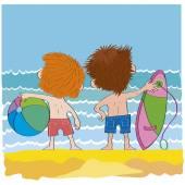 Cheerful children-boys on beach-illustration