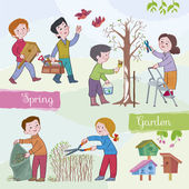 Children (boys and girls) in the spring in a garden Children paint a tree cut a bush the boy bears a starling houseIllustration done in cartoon style