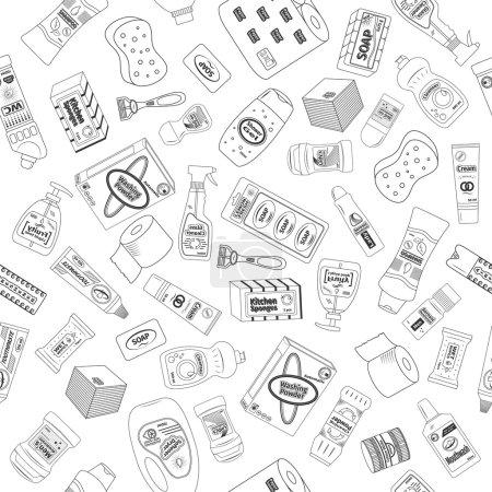 Illustration pour Modèle sans couture de nettoyant et de lavage, illustration vectorielle - image libre de droit