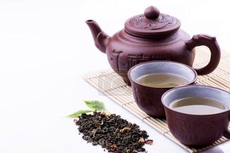 Green Tea set on white background. Selective focus