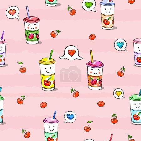 Kawaii food on pink background. Animation characte...