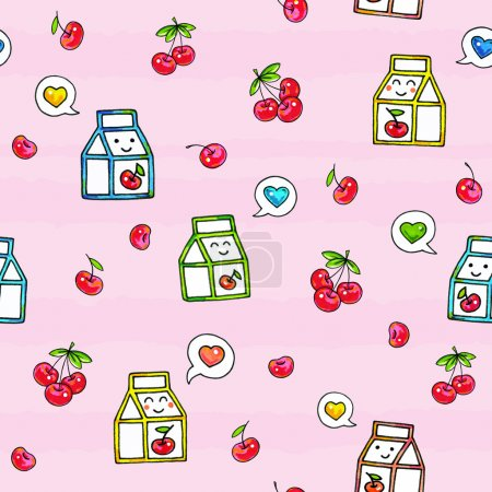 Photo for Kawaii food on pink background. Animation characters drawing. Seamless pattern cherry juice. - Royalty Free Image