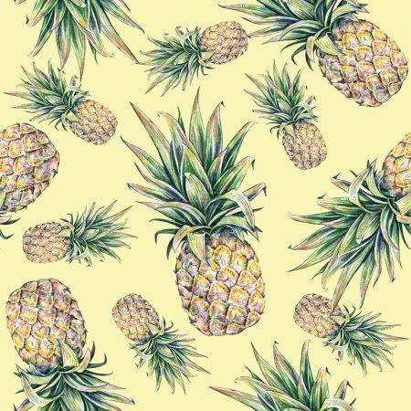 Foto de Piña sobre un fondo amarillo. Ilustración color acuarela. Frutas tropicales. Patrón transparente. - Imagen libre de derechos