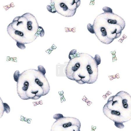 Pandas sobre fondo blanco. Patrón sin costuras. Dibujo de acuarela. Ilustración infantil. Trabajos manuales