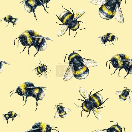 Photo pour Bourdon sur fond jaune. Dessin Aquarelle. Art d'insectes. Travail manuel. Modèle sans couture. - image libre de droit