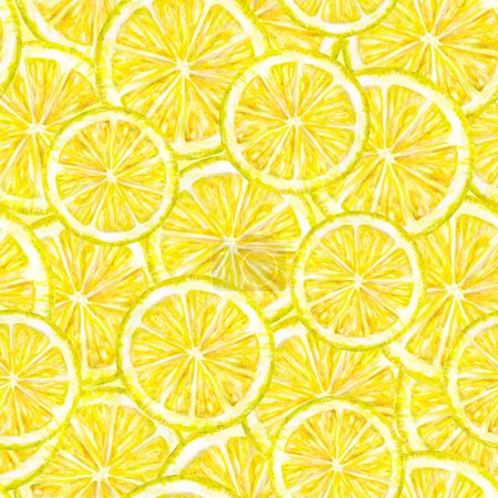 Yellow lemon fruits segments. Watercolor drawing. Handwork. Tropical fruit. Healthy food. Seamless pattern for design