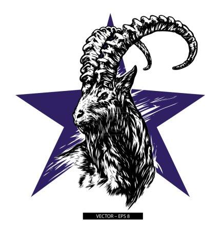 Mountain goat vector.  Black silhouette. Siberian ibex. Capra sibirica.