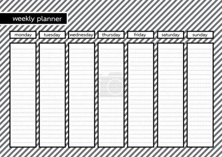 Weekly planner black frame white grey stripe