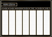 Weekly planner metallic gold and black frame horizontal