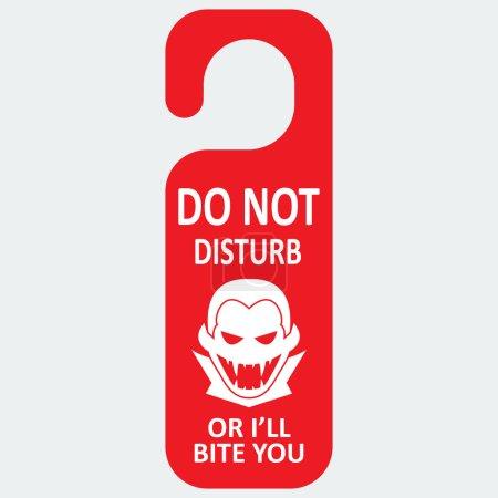 Illustration pour Étiquette vectorielle avec icône vampire et texte. Ne vous dérangez pas ou je vous mordrai. Format eps 10 - image libre de droit