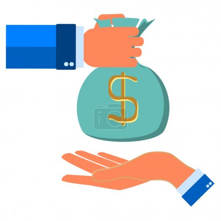 Human hand gives money bag to another person payment banking pos