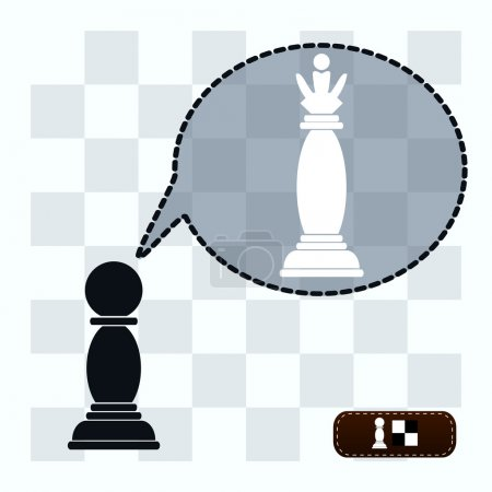 Conceptual art: pawn dreaming of becoming a chess queen