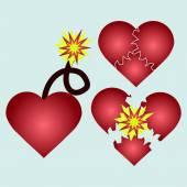 Love cartoon explosion Falling in love Love firework
