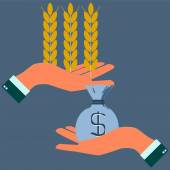 Hands holding wheat ears and money agribusiness agrobusiness