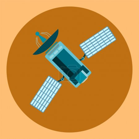 Satellite, modern flat icon, communication satellite with solar