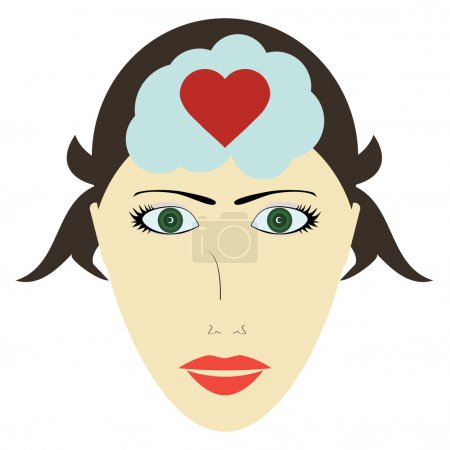Female head and heart, head of a woman thinks about love