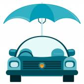 Passenger car under an umbrella. Protection from bad weather