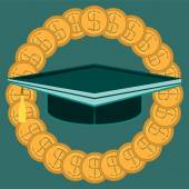 Graduate hat in the circle of gold dollar coins