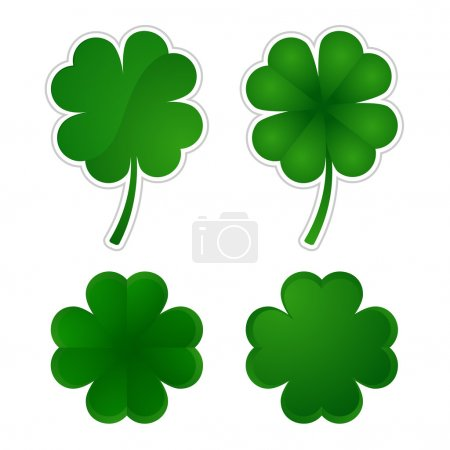Vector illustration  Collection of four-leaf clovers. EPS 10