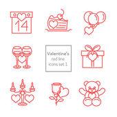 Set of Valentines line icons flat