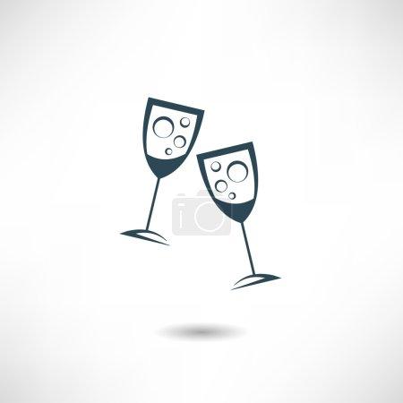 Illustration pour Lunettes de champagne icône vectorielle - image libre de droit