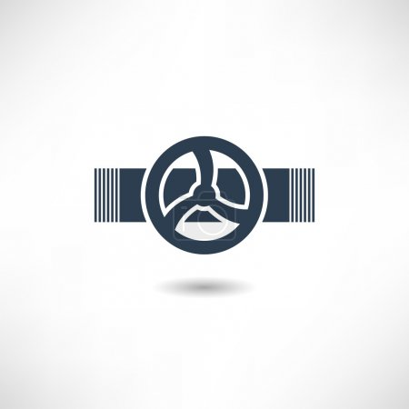Illustration for Valve on the pipe icon on white background. Vector illustration - Royalty Free Image