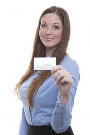 Employee shows her business card