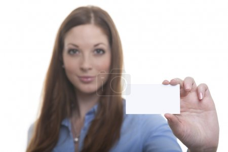 Woman shows her business card