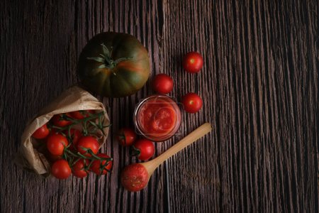 Photo for Homemade tomato sauce. top view wooden background - Royalty Free Image