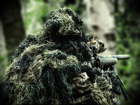 airsoft player with Ghillie Suit